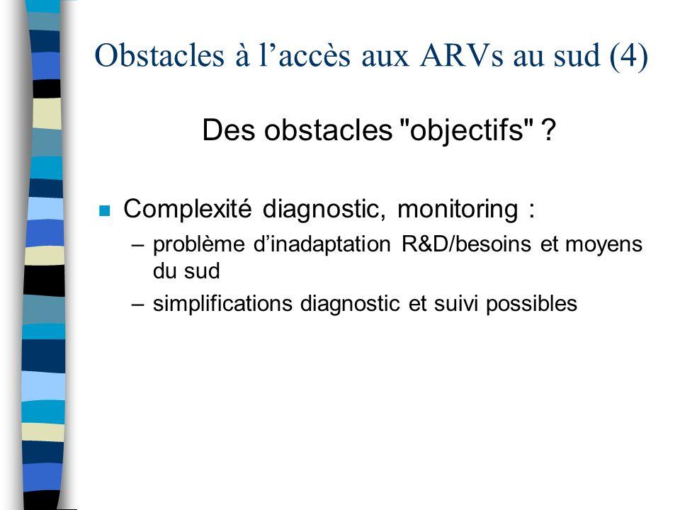 Obstacles à laccès aux ARVs au sud (4) Des obstacles objectifs .