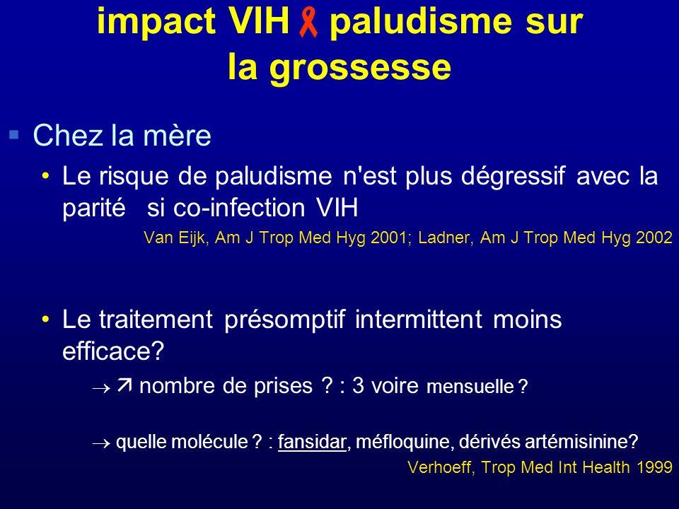 impact VIH paludisme sur la grossesse Chez la mère Le risque de paludisme n est plus dégressif avec la parité si co-infection VIH Van Eijk, Am J Trop Med Hyg 2001; Ladner, Am J Trop Med Hyg 2002 Le traitement présomptif intermittent moins efficace.