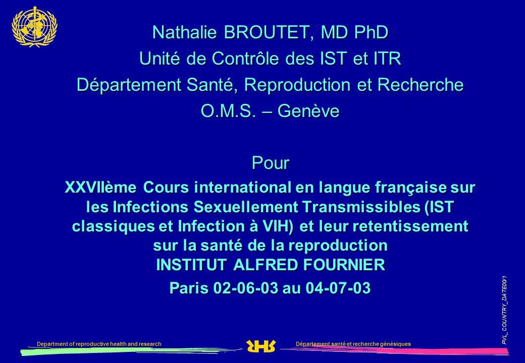 Département santé et recherche génésiquesDepartment of reproductive health and research PVL_COUNTRY_DATE00/1 Nathalie BROUTET, MD PhD Unité de Contrôl