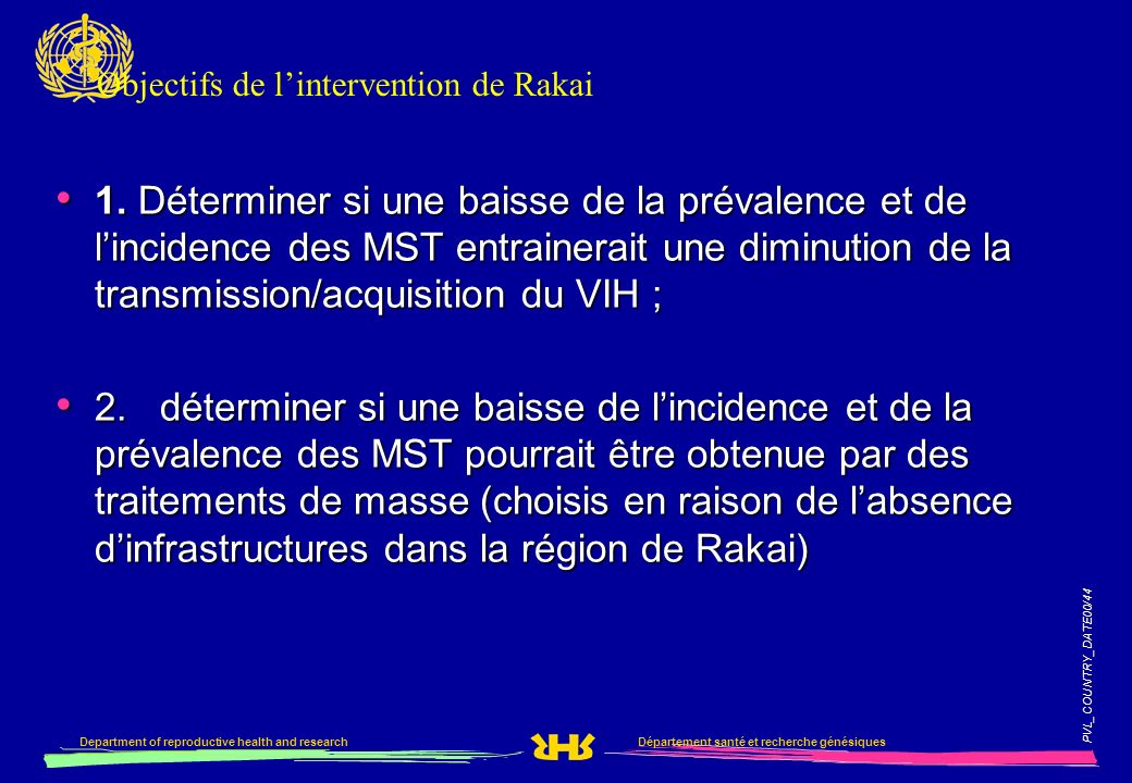 PVL_COUNTRY_DATE00/44 Département santé et recherche génésiquesDepartment of reproductive health and research Objectifs de lintervention de Rakai 1.