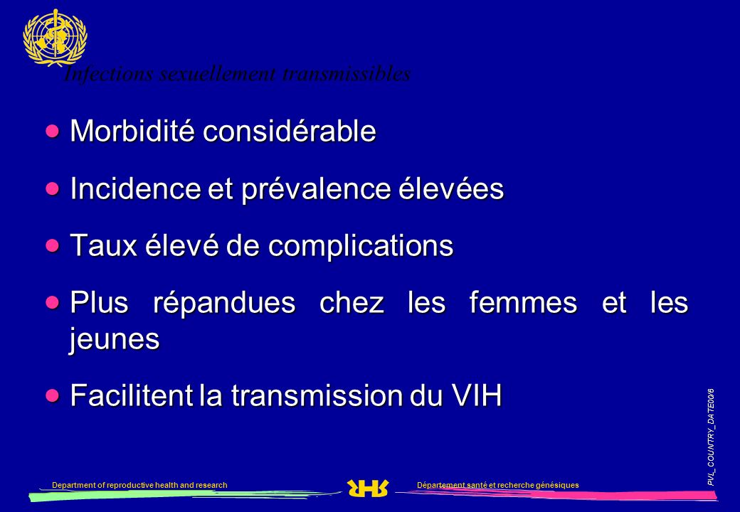 PVL_COUNTRY_DATE00/6 Département santé et recherche génésiquesDepartment of reproductive health and research Infections sexuellement transmissibles Mo