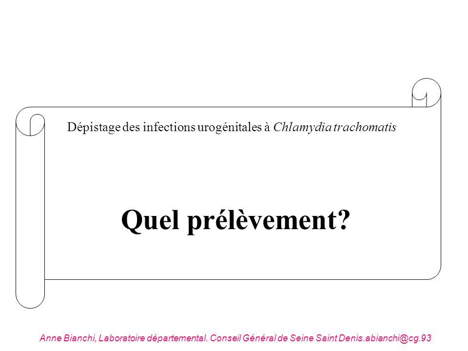 Quel prélèvement? Dépistage des infections urogénitales à Chlamydia trachomatis Anne Bianchi, Laboratoire départemental. Conseil Général de Seine Sain