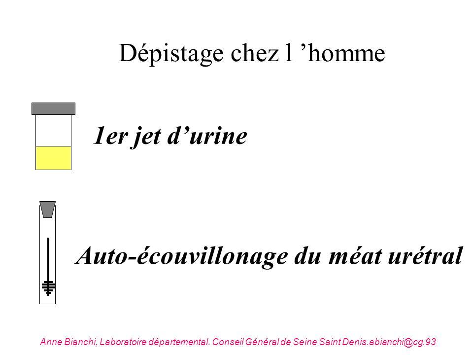 Dépistage chez l homme 1er jet durine Auto-écouvillonage du méat urétral Anne Bianchi, Laboratoire départemental. Conseil Général de Seine Saint Denis