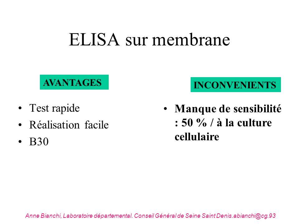 ELISA sur membrane Test rapide Réalisation facile B30 AVANTAGES INCONVENIENTS Manque de sensibilité : 50 % / à la culture cellulaire Anne Bianchi, Lab