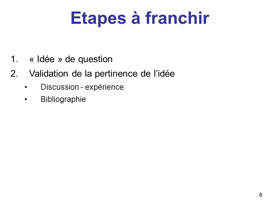 6 Etapes à franchir 1.« Idée » de question 2.Validation de la pertinence de lidée Discussion - expérience Bibliographie