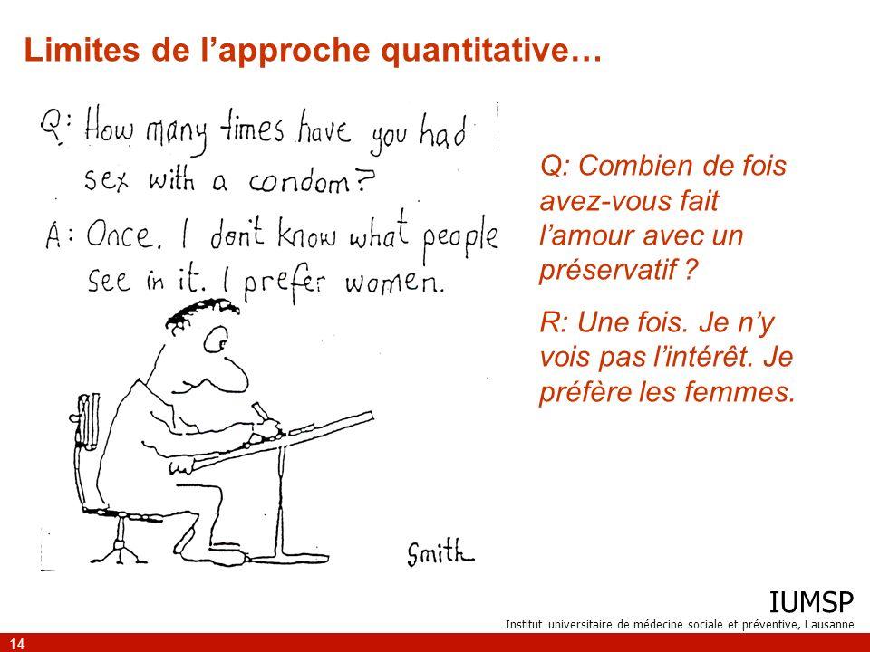 IUMSP Institut universitaire de médecine sociale et préventive, Lausanne 14 Q: Combien de fois avez-vous fait lamour avec un préservatif ? R: Une fois