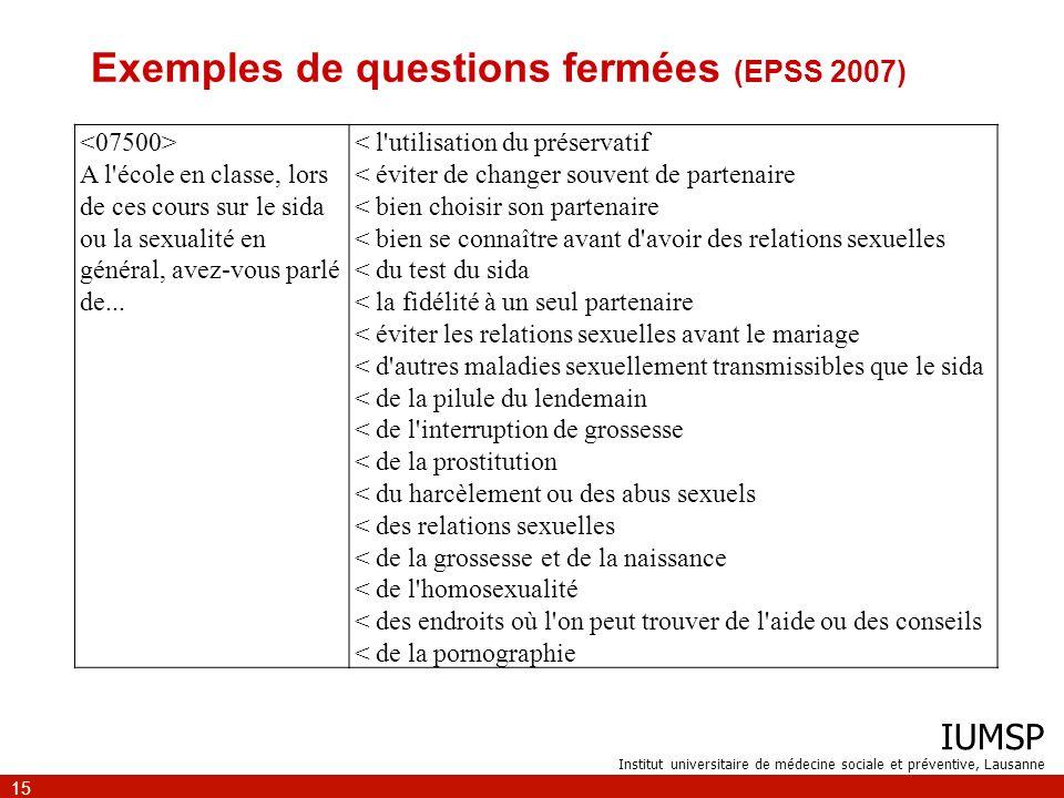 IUMSP Institut universitaire de médecine sociale et préventive, Lausanne 15 Exemples de questions fermées (EPSS 2007) A l'école en classe, lors de ces
