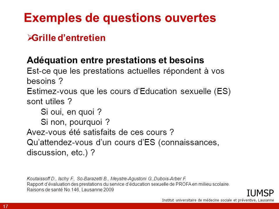 IUMSP Institut universitaire de médecine sociale et préventive, Lausanne 17 Exemples de questions ouvertes Grille dentretien Adéquation entre prestati
