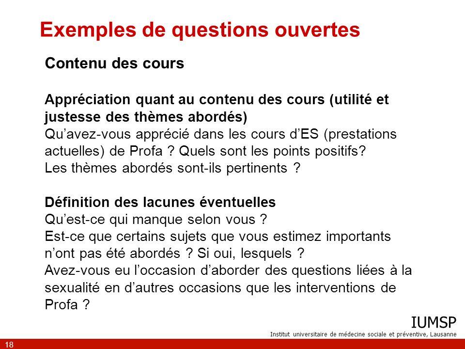 IUMSP Institut universitaire de médecine sociale et préventive, Lausanne 18 Exemples de questions ouvertes Contenu des cours Appréciation quant au con