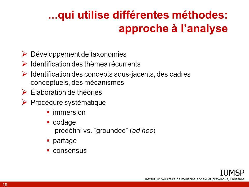 IUMSP Institut universitaire de médecine sociale et préventive, Lausanne 19 … qui utilise différentes méthodes: approche à lanalyse Développement de t