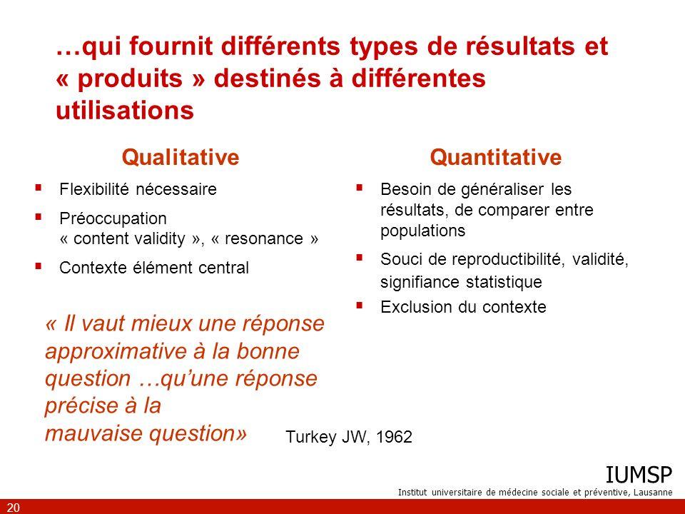 IUMSP Institut universitaire de médecine sociale et préventive, Lausanne 20 …qui fournit différents types de résultats et « produits » destinés à diff
