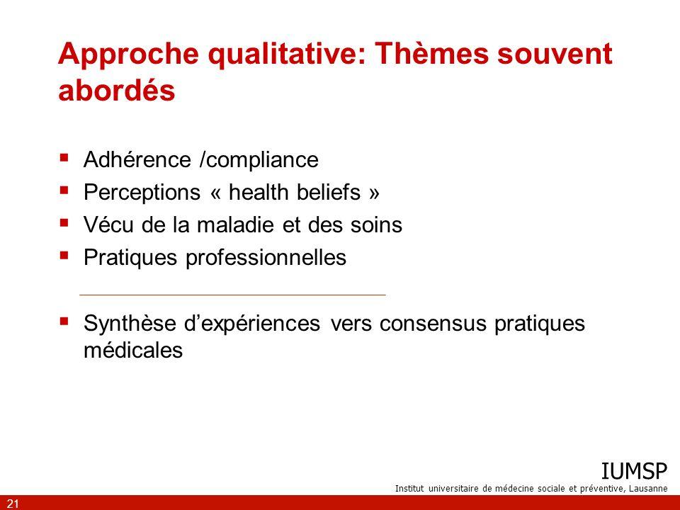 IUMSP Institut universitaire de médecine sociale et préventive, Lausanne 21 Approche qualitative: Thèmes souvent abordés Adhérence /compliance Percept