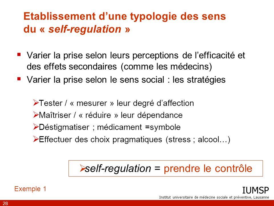 IUMSP Institut universitaire de médecine sociale et préventive, Lausanne 28 Etablissement dune typologie des sens du « self-regulation » Varier la pri