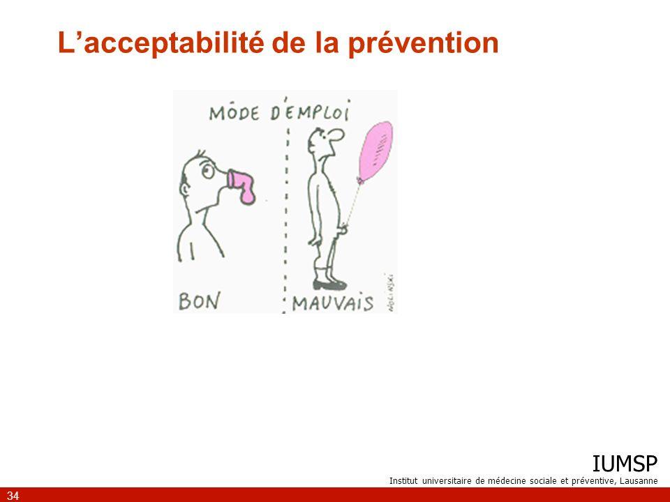 IUMSP Institut universitaire de médecine sociale et préventive, Lausanne 34 Lacceptabilité de la prévention