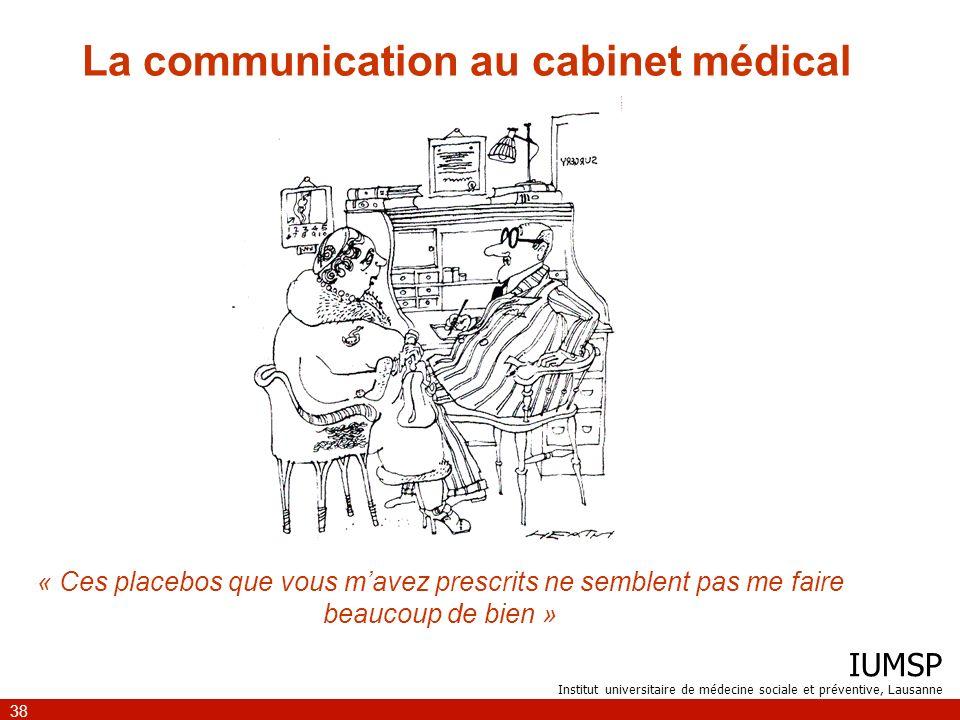 IUMSP Institut universitaire de médecine sociale et préventive, Lausanne 38 La communication au cabinet médical « Ces placebos que vous mavez prescrit