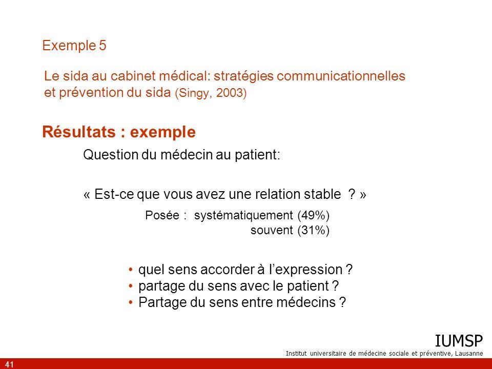 IUMSP Institut universitaire de médecine sociale et préventive, Lausanne 41 Exemple 5 Résultats : exemple quel sens accorder à lexpression ? partage d