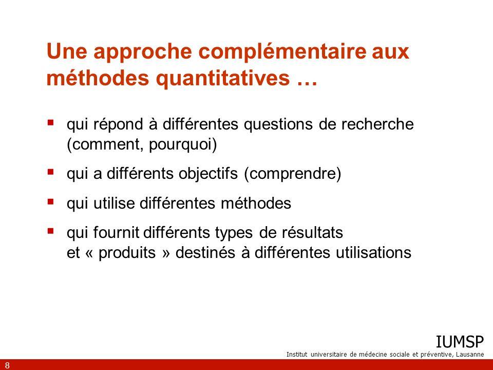 IUMSP Institut universitaire de médecine sociale et préventive, Lausanne 9 …qui répond à différentes questions de recherche (comment, pourquoi) Qualitative comment .