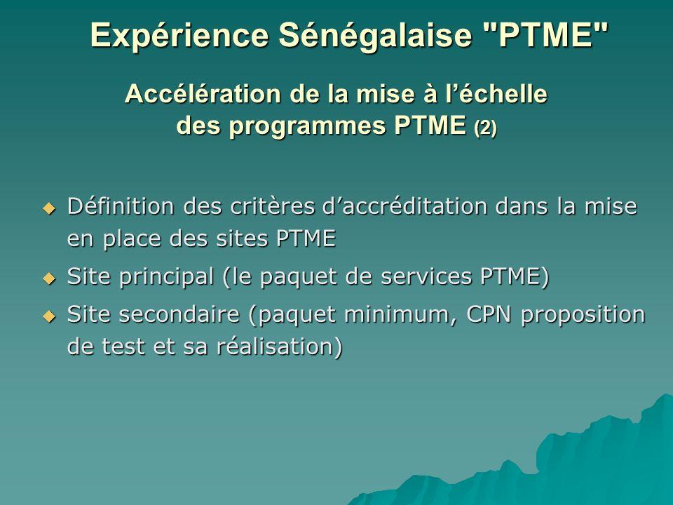 Accélération de la mise à léchelle des programmes PTME (2) Définition des critères daccréditation dans la mise en place des sites PTME Définition des