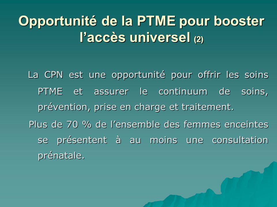 Opportunité de la PTME pour booster laccès universel (2) La CPN est une opportunité pour offrir les soins PTME et assurer le continuum de soins, préve