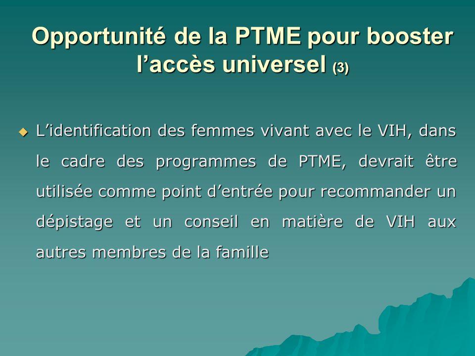 Lidentification des femmes vivant avec le VIH, dans le cadre des programmes de PTME, devrait être utilisée comme point dentrée pour recommander un dép
