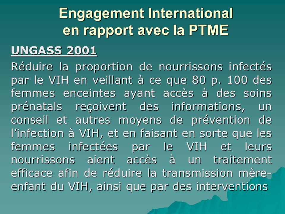 Engagement International en rapport avec la PTME UNGASS 2001 Réduire la proportion de nourrissons infectés par le VIH en veillant à ce que 80 p. 100 d