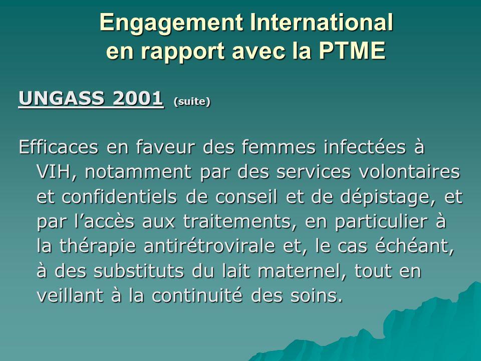 UNGASS 2001 (suite) Efficaces en faveur des femmes infectées à VIH, notamment par des services volontaires et confidentiels de conseil et de dépistage