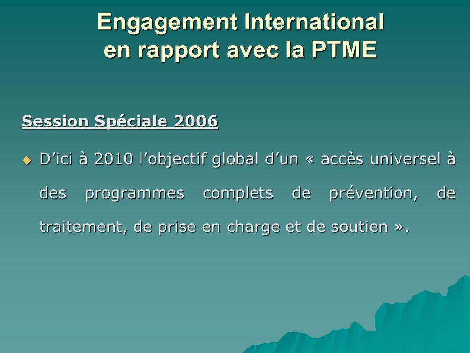 Session Spéciale 2006 Dici à 2010 lobjectif global dun « accès universel à des programmes complets de prévention, de traitement, de prise en charge et