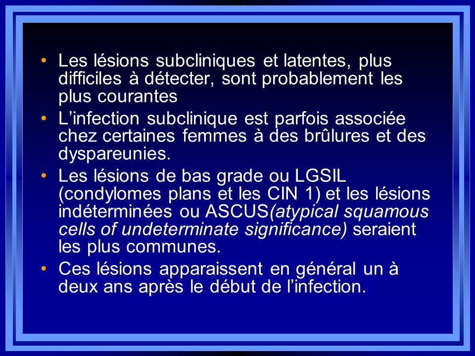 Les lésions subcliniques et latentes, plus difficiles à détecter, sont probablement les plus courantes Linfection subclinique est parfois associée che