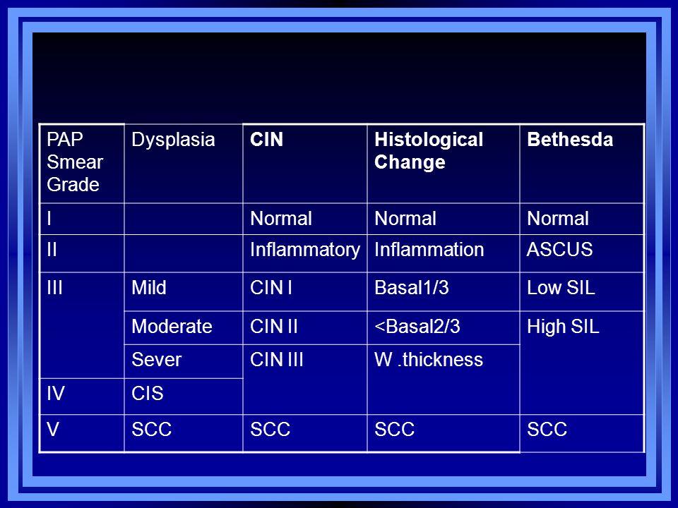 PAP Smear Grade DysplasiaCINHistological Change Bethesda INormal IIInflammatoryInflammationASCUS IIIMildCIN IBasal1/3Low SIL ModerateCIN II<Basal2/3Hi