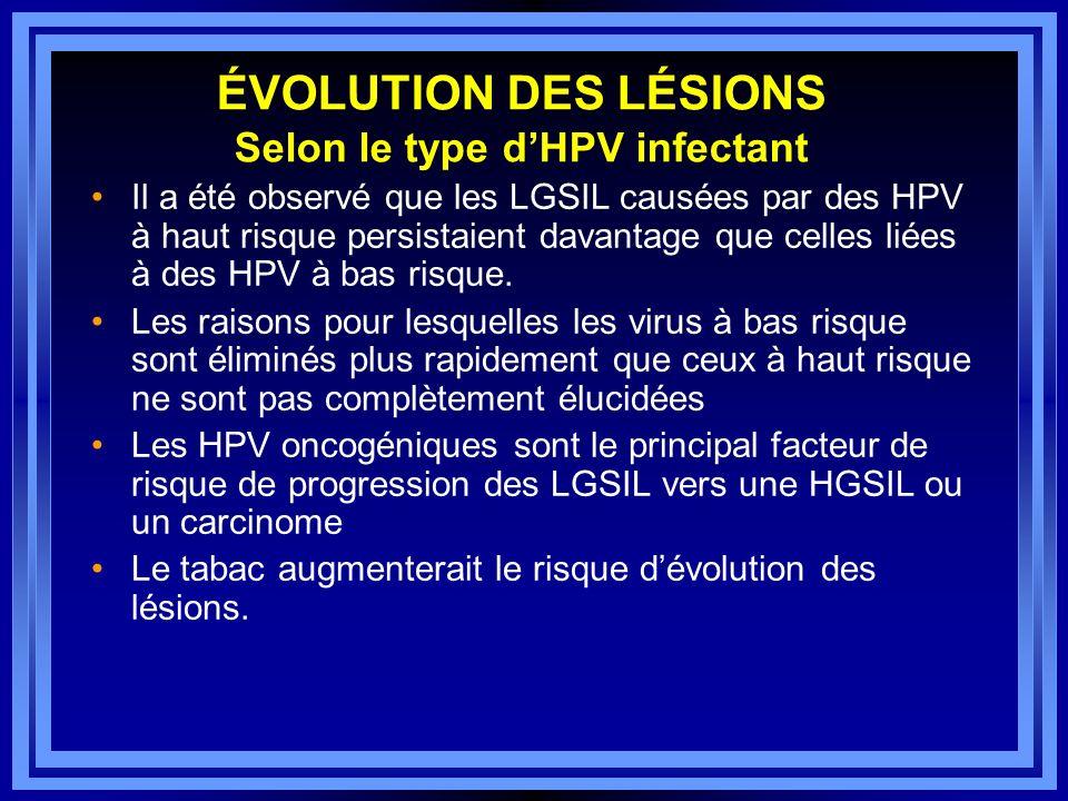 ÉVOLUTION DES LÉSIONS Selon le type dHPV infectant Il a été observé que les LGSIL causées par des HPV à haut risque persistaient davantage que celles