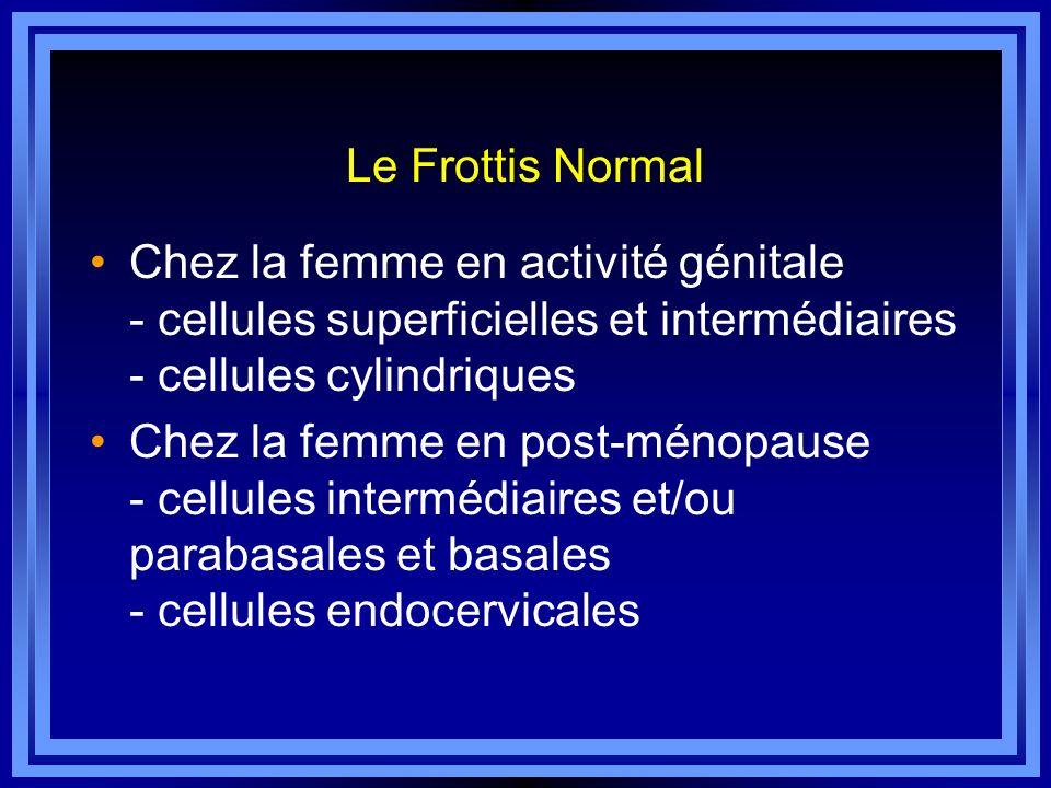 Le Frottis Normal Chez la femme en activité génitale - cellules superficielles et intermédiaires - cellules cylindriques Chez la femme en post-ménopau