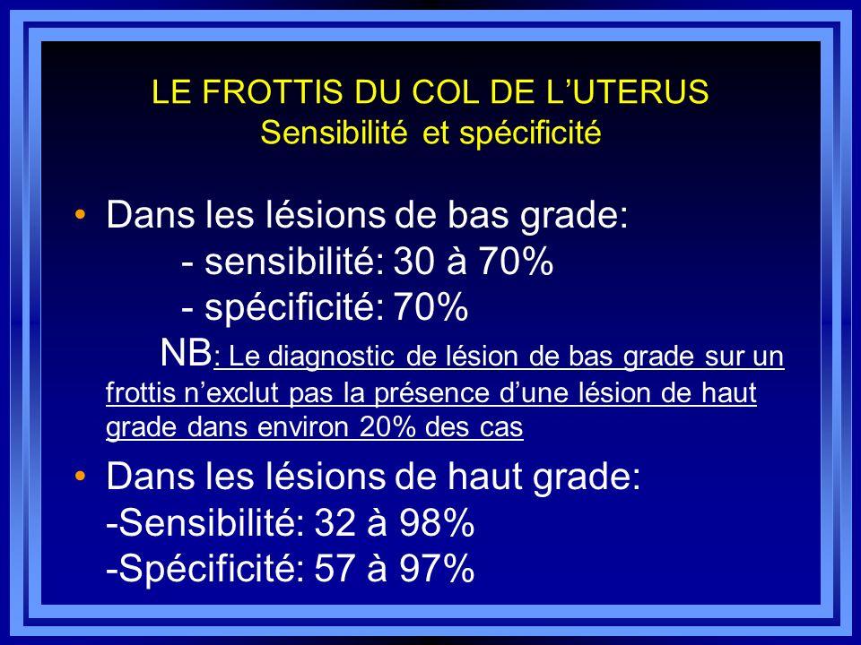 LE FROTTIS DU COL DE LUTERUS Sensibilité et spécificité Dans les lésions de bas grade: - sensibilité: 30 à 70% - spécificité: 70% NB : Le diagnostic d