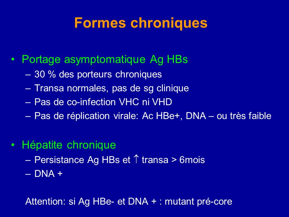 Formes chroniques Portage asymptomatique Ag HBs –30 % des porteurs chroniques –Transa normales, pas de sg clinique –Pas de co-infection VHC ni VHD –Pa