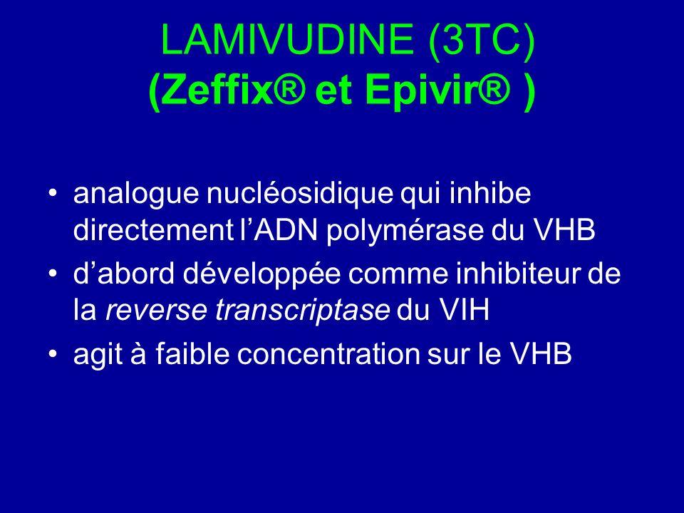 LAMIVUDINE (3TC) (Zeffix® et Epivir® ) analogue nucléosidique qui inhibe directement lADN polymérase du VHB dabord développée comme inhibiteur de la r