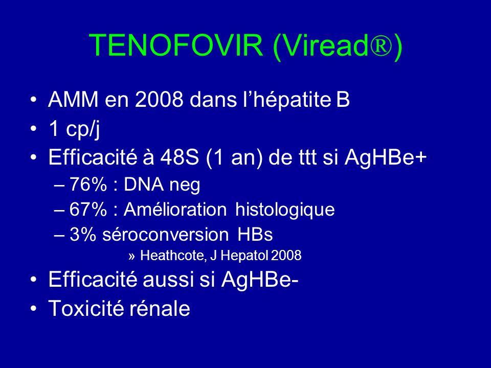 TENOFOVIR (Viread ® ) AMM en 2008 dans lhépatite B 1 cp/j Efficacité à 48S (1 an) de ttt si AgHBe+ –76% : DNA neg –67% : Amélioration histologique –3%