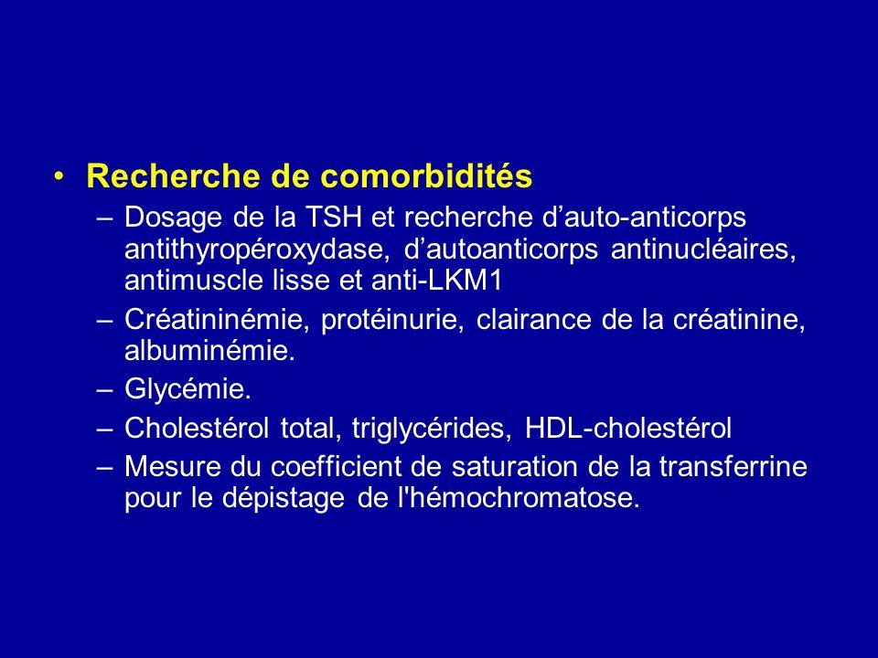 Recherche de comorbidités –Dosage de la TSH et recherche dauto-anticorps antithyropéroxydase, dautoanticorps antinucléaires, antimuscle lisse et anti-