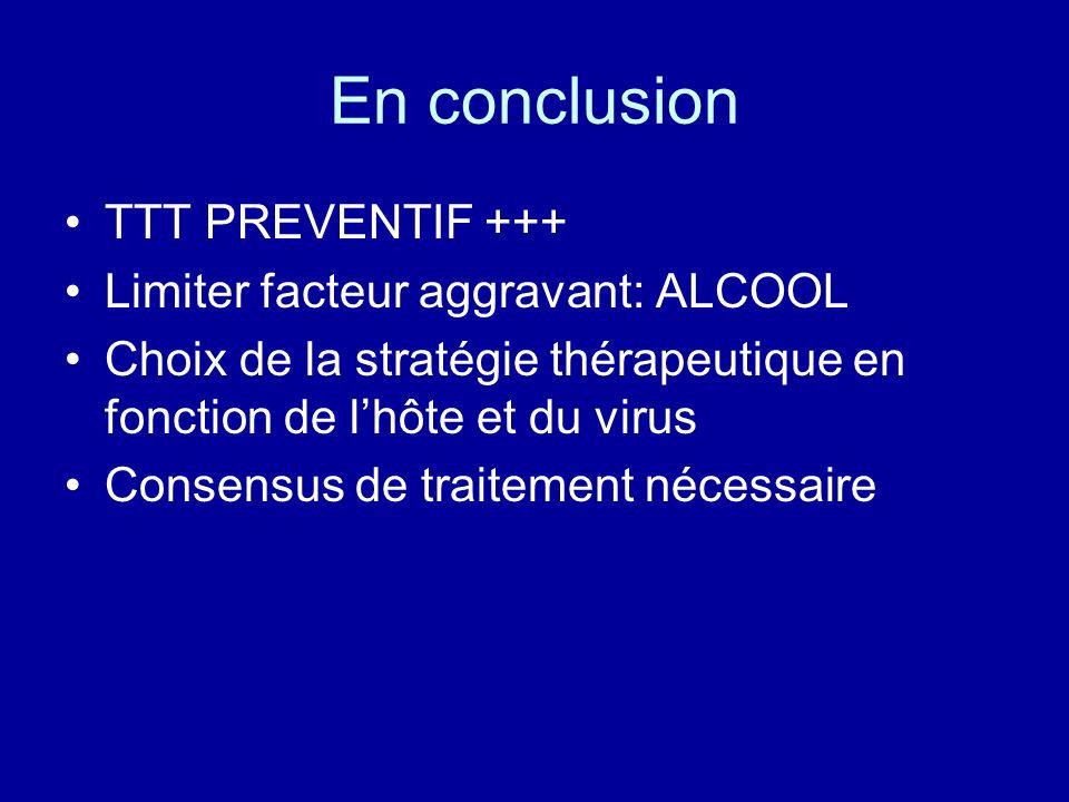 En conclusion TTT PREVENTIF +++ Limiter facteur aggravant: ALCOOL Choix de la stratégie thérapeutique en fonction de lhôte et du virus Consensus de tr
