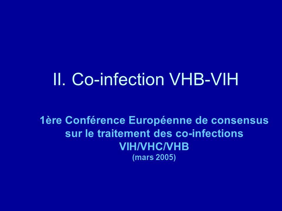 II. Co-infection VHB-VIH 1ère Conférence Européenne de consensus sur le traitement des co-infections VIH/VHC/VHB (mars 2005)
