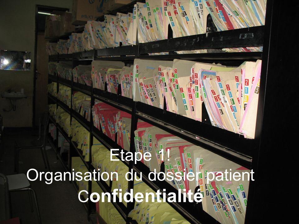 Etape 1! Organisation du dossier patient C onfidentialité