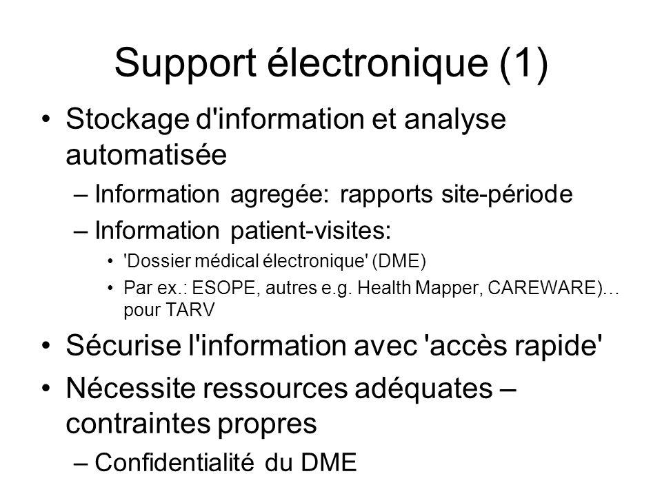 Support électronique (1) Stockage d'information et analyse automatisée –Information agregée: rapports site-période –Information patient-visites: 'Doss