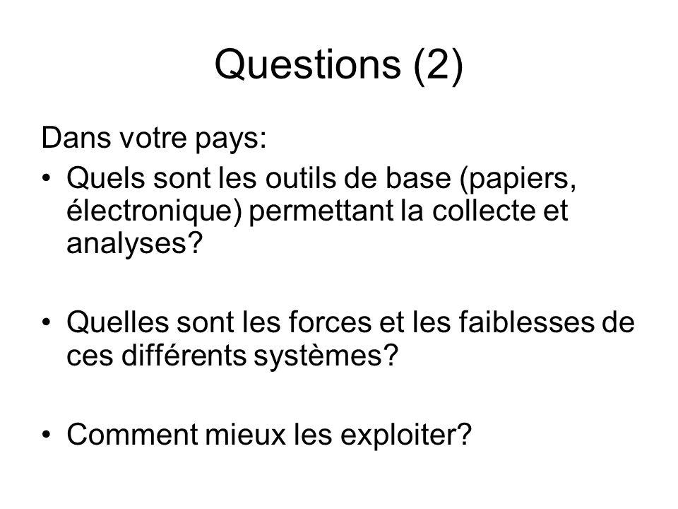 Questions (2) Dans votre pays: Quels sont les outils de base (papiers, électronique) permettant la collecte et analyses? Quelles sont les forces et le