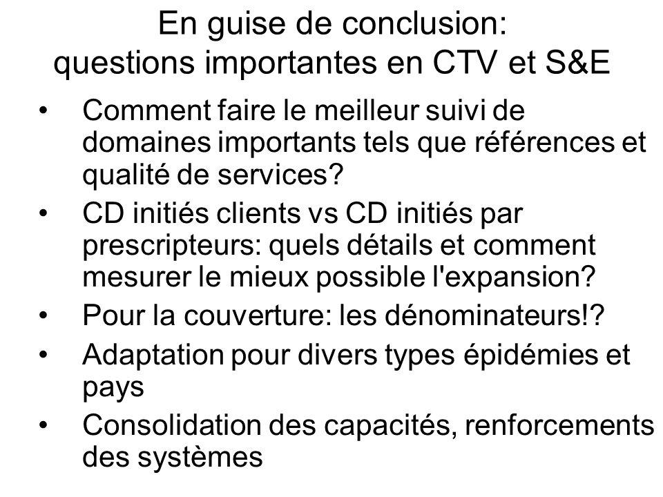 En guise de conclusion: questions importantes en CTV et S&E Comment faire le meilleur suivi de domaines importants tels que références et qualité de services.