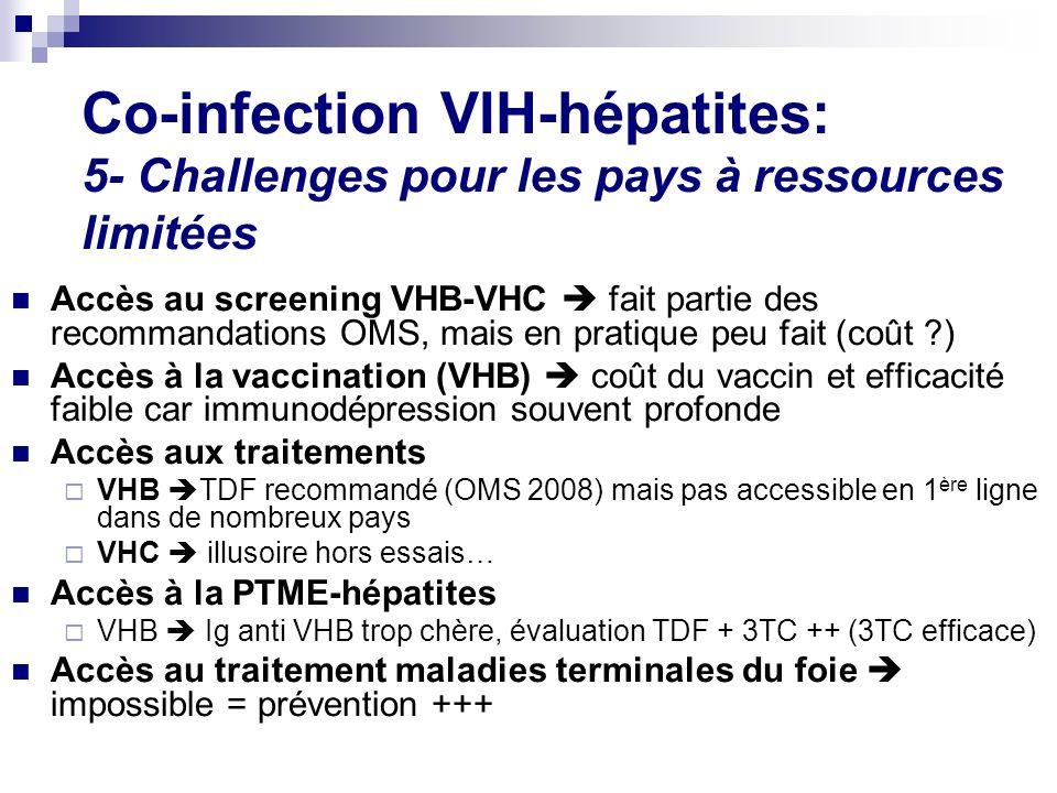 Co-infection VIH-hépatites: 5- Challenges pour les pays à ressources limitées Accès au screening VHB-VHC fait partie des recommandations OMS, mais en