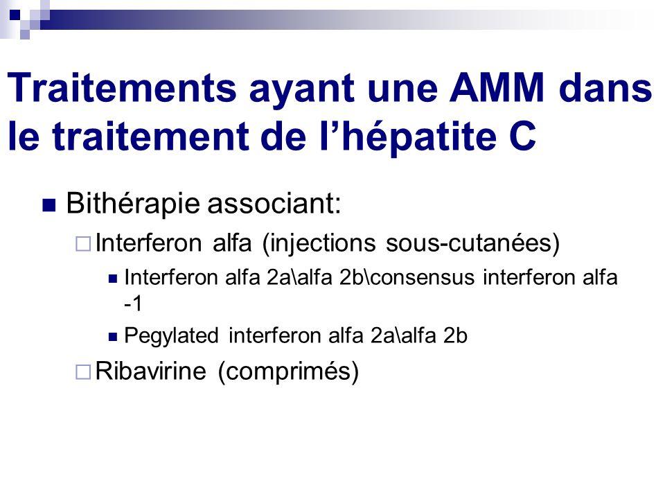 Traitements ayant une AMM dans le traitement de lhépatite C Bithérapie associant: Interferon alfa (injections sous-cutanées) Interferon alfa 2a\alfa 2