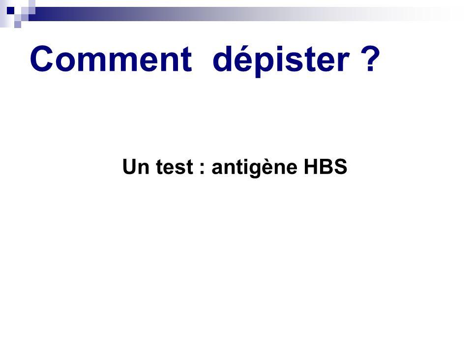 Comment dépister ? Un test : antigène HBS