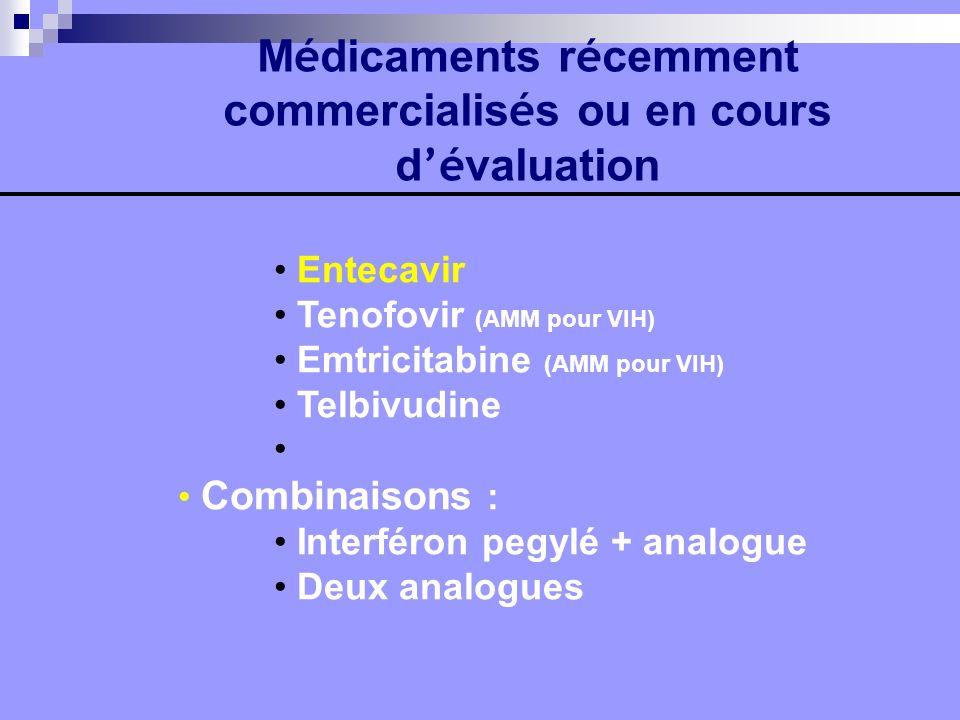 M é dicaments r é cemment commercialis é s ou en cours d é valuation Entecavir Tenofovir (AMM pour VIH) Emtricitabine (AMM pour VIH) Telbivudine Combi