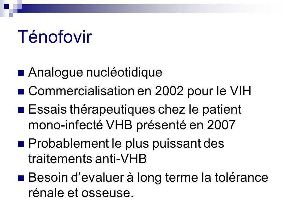 Ténofovir Analogue nucléotidique Commercialisation en 2002 pour le VIH Essais thérapeutiques chez le patient mono-infecté VHB présenté en 2007 Probabl