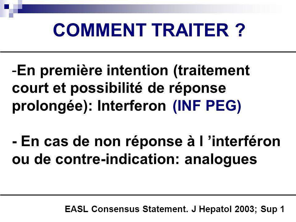 COMMENT TRAITER ? -En première intention (traitement court et possibilité de réponse prolongée): Interferon - En cas de non réponse à l interféron ou
