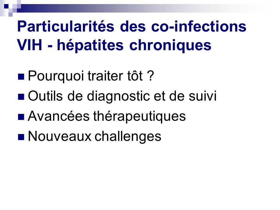 Particularités des co-infections VIH - hépatites chroniques Pourquoi traiter tôt ? Outils de diagnostic et de suivi Avancées thérapeutiques Nouveaux c