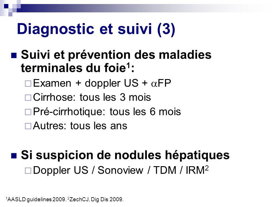 Diagnostic et suivi (3) Suivi et prévention des maladies terminales du foie 1 : Examen + doppler US + FP Cirrhose: tous les 3 mois Pré-cirrhotique: to
